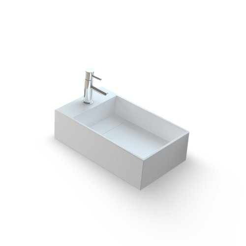 Fontein Bellezza Bagno Fabro Solid Surface 50x30x20 cm (kraangat links)