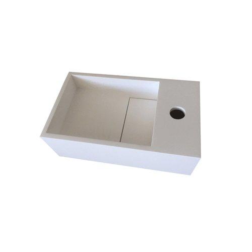 Fontein Bellezza Bagno Piazza Solid Surface 35x20.4x12 cm (kraangat rechts)