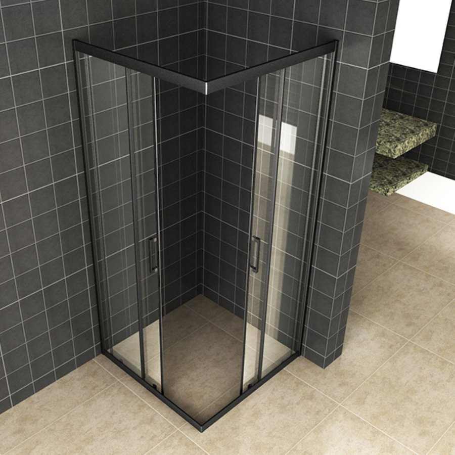 Douchecabine Wiesbaden Skyline Hoekinstap + 2 Schuifdeuren 80x80x200 cm 8mm Helder Glas NANO Coating Mat Zwart