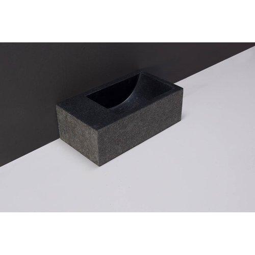 Fontein Forzalaqua Venetia XS Graniet Gezoet Gebrand Zonder Kraangat Links 29x16x10 cm