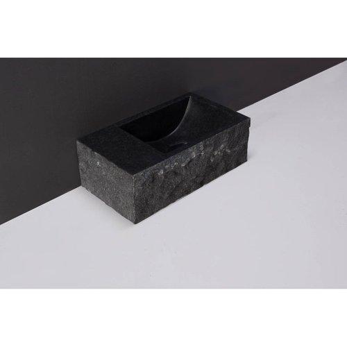 Fontein Forzalaqua Venetia XS Graniet Gezoet Gekapt Zonder Kraangat Links 29x16x10 cm