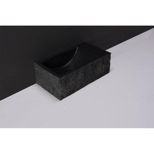 Fontein Forzalaqua Venetia XS Graniet Gezoet Gekapt Zonder Kraangat Rechts 29x16x10 cm
