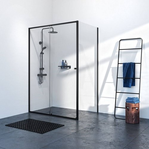 Sealskin Get Wet Contour Douchecabine met Schuifdeur 140x90 cm 6 mm Helder Glas Mat Zwart