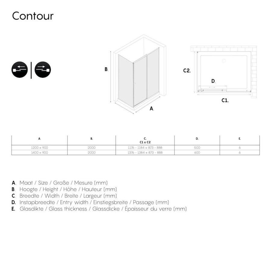 Sealskin Get Wet Contour Douchecabine met Schuifdeur 140x90 cm 6 mm Helder Glas RVS