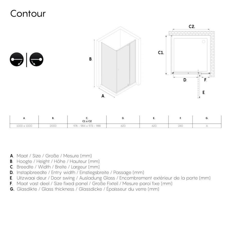 Sealskin Get Wet Contour Douchecabine met Draaideur 100x100 cm 6mm Helderglas Mat Zwart
