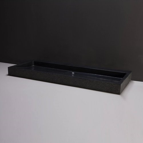 Wastafel Forzalaqua Palermo Graniet Gezoet Gebrand 2 Kraangaten Zwart 100,5x51,5x9 cm
