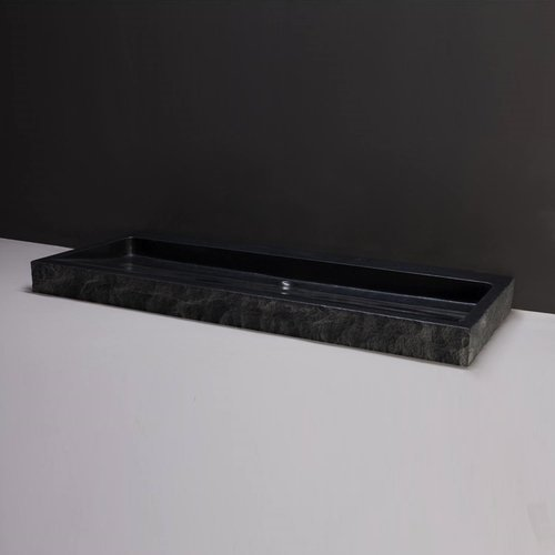 Wastafel Forzalaqua Palermo Graniet Gezoet Gekapt 2 Kraangaten Zwart 120,5x51,5x9 cm