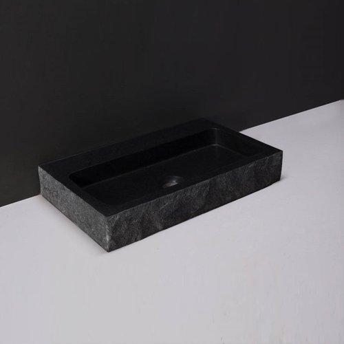 Wastafel Forzalaqua Taranto Graniet Gezoet Gekapt Met Kraangat Zwart 50x30x8 cm