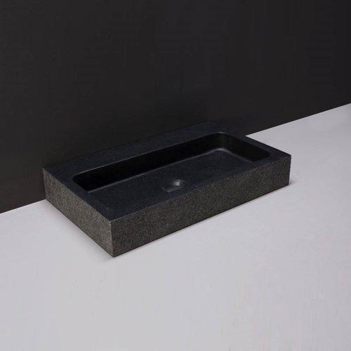 Wastafel Forzalaqua Taranto Graniet Gezoet Gebrand Zonder Kraangat Zwart 50x30x8 cm