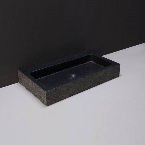 Wastafel Forzalaqua Taranto Graniet Gezoet Gebrand Met Kraangat Zwart 50x30x8 cm