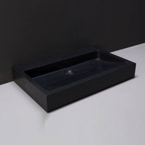 Wastafel Forzalaqua Palermo Graniet Gezoet Met Kraangat Zwart 60x40x9 cm