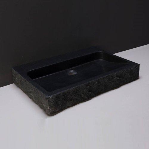Wastafel Forzalaqua Palermo Graniet Gezoet Gekapt Met Kraangat Zwart 60x40x9 cm