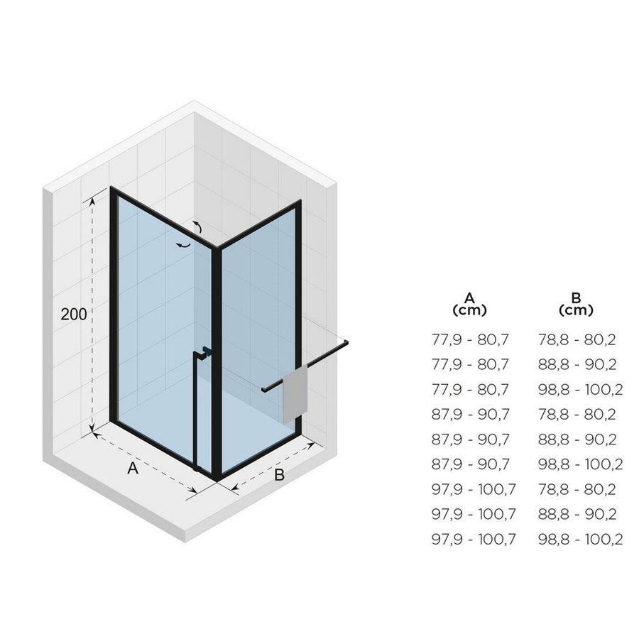 Douchecabine Riho Lucid GD201 Omkeerbaar Verstelbaar Aluminium 200x80x100 cm Mat Zwart