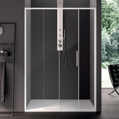 Schuifdeur Lacus Torcello Tweedelig Helder Glas 120x200 cm Aluminium Profiel Wit