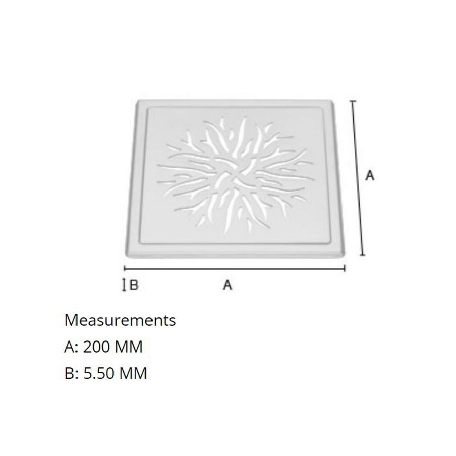 Afvoerrooster Smedbo Outline Met Kroonpatroon 20 x 20 x 0.55 cm RVS
