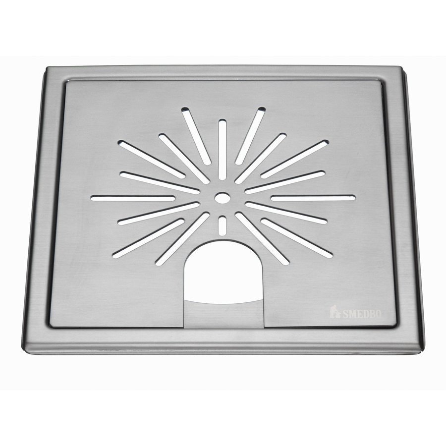 Afvoerrooster Smedbo Outline Met Sterpatroon Voor Badkuipen 20 x 20 x 0.55 cm Geborsteld RVS