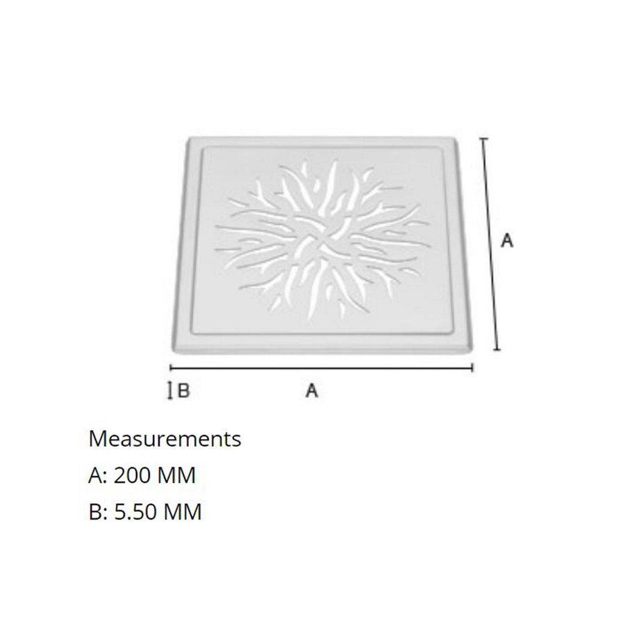 Afvoerrooster Smedbo Outline Met Kroonpatroon 20 x 20 x 0.55 cm Geborsteld RVS
