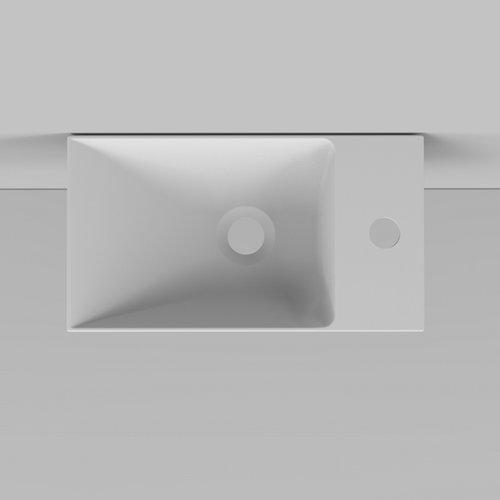 Fontein Arqua Marble Free 40x22 cm Cast Marble Rechts Vrijhangend Zonder Overloop Mat Wit