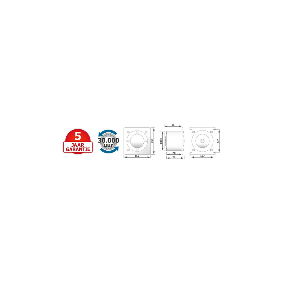 Badkamer Ventilator Pro Design Standaard Trekkoord 125mm 170 m3 Vlak RVS