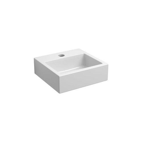 Clou Flush 1 Toiletfontein Met Kraangat En Plug Wit Keramiek 28x27x9cm