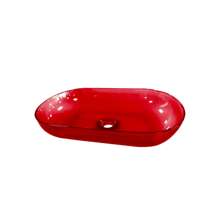 Waskom Best Design Opbouw 54x34x12 cm Resin Transparant Rood ADW Design