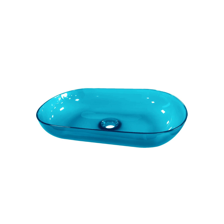 Waskom Best Design Opbouw 54x34x12 cm Resin Transparant Blauw ADW Design