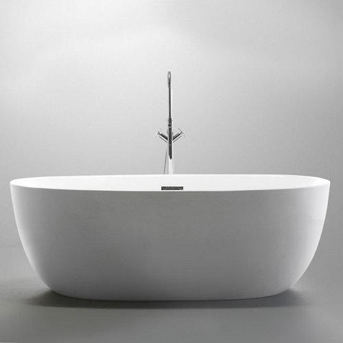 Vrijstaand Ligbad Marrina 150x87x58cm met Badwaste en Overloop Glasvezelversterkt Hoogwaardig Acryl Glans Wit