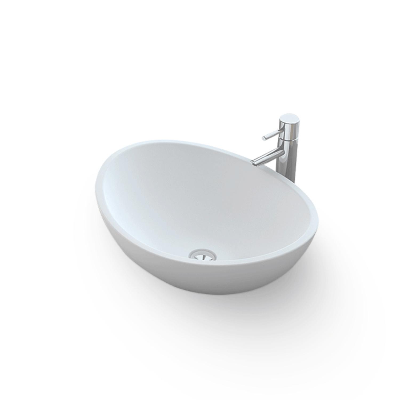 Opbouw Waskom Bellezza Bagno Parma Solid Surface 42x34x15 cm Mat Wit Bellezza Bagno