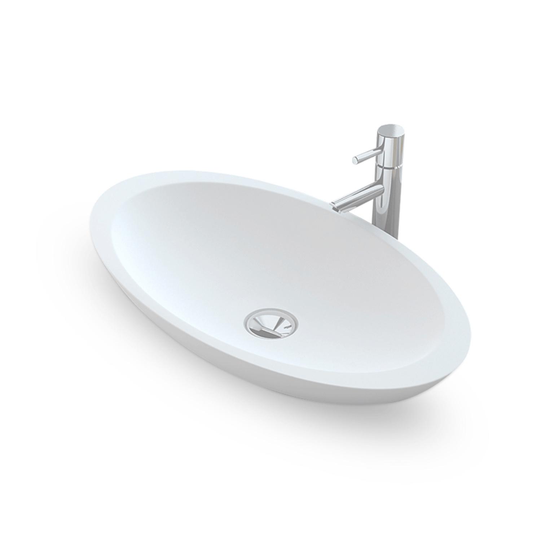 Opbouw Waskom Bellezza Bagno Tortona Solid Surface 60x35x10.5 cm Mat Wit Bellezza Bagno