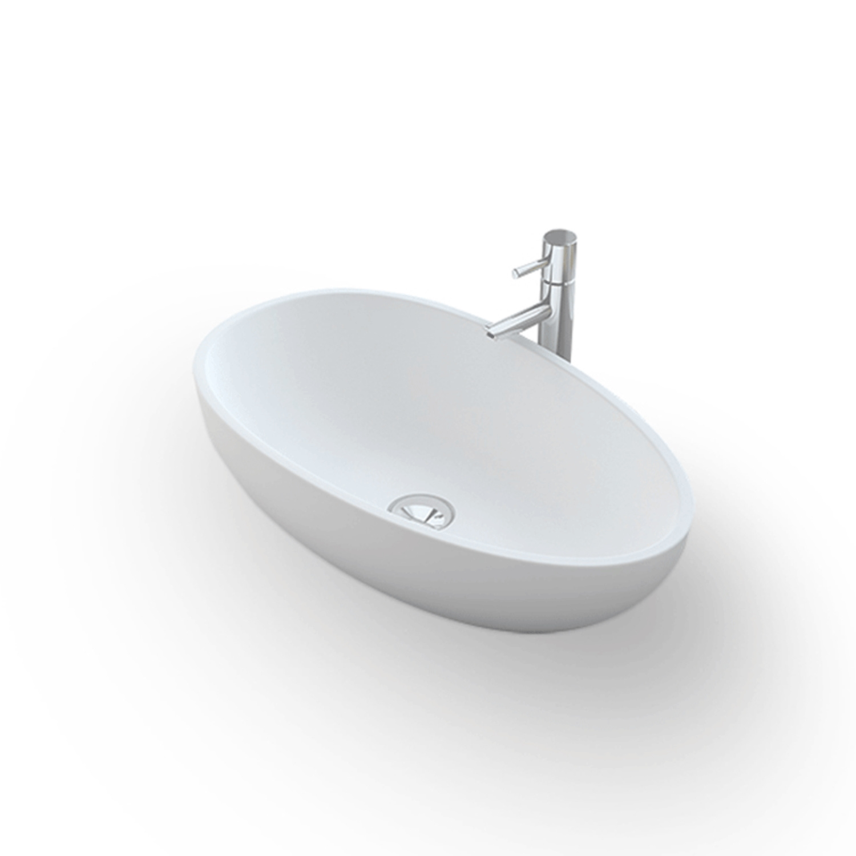 Opbouw Waskom Bellezza Bagno Macerata Solid Surface 60x35x15 cm Mat Wit Bellezza Bagno