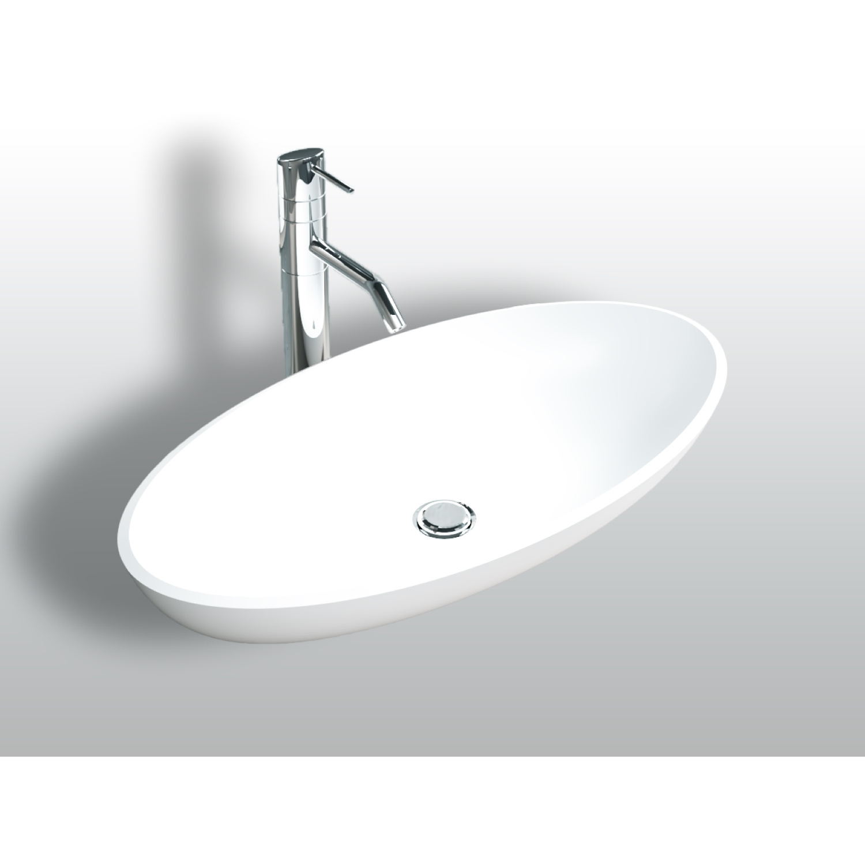 Opbouw Waskom Bellezza Bagno Pralano Solid Surface 58.5x38.5x9.5 cm Mat Wit Bellezza Bagno