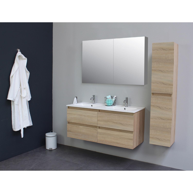 Badkamermeubel BWS Pepper Wastafel Porselein 2 Kraangaten Spiegelkast 120x55x46 cm Eiken BWS