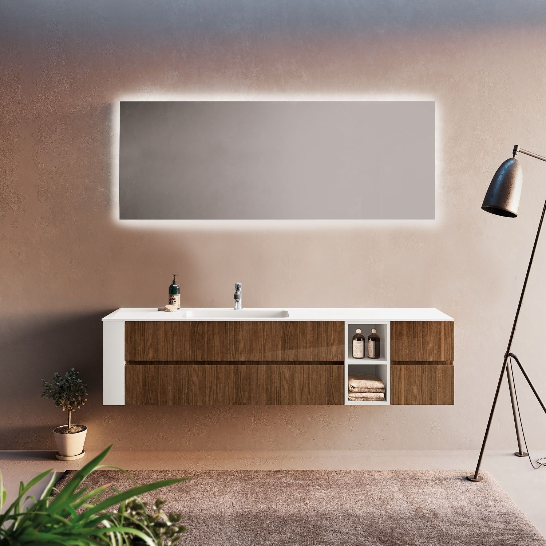 XenZ Badkamerspiegel Peschiera 160x70 cm met Rondom Indirecte Verlichting en Spiegelverwarming