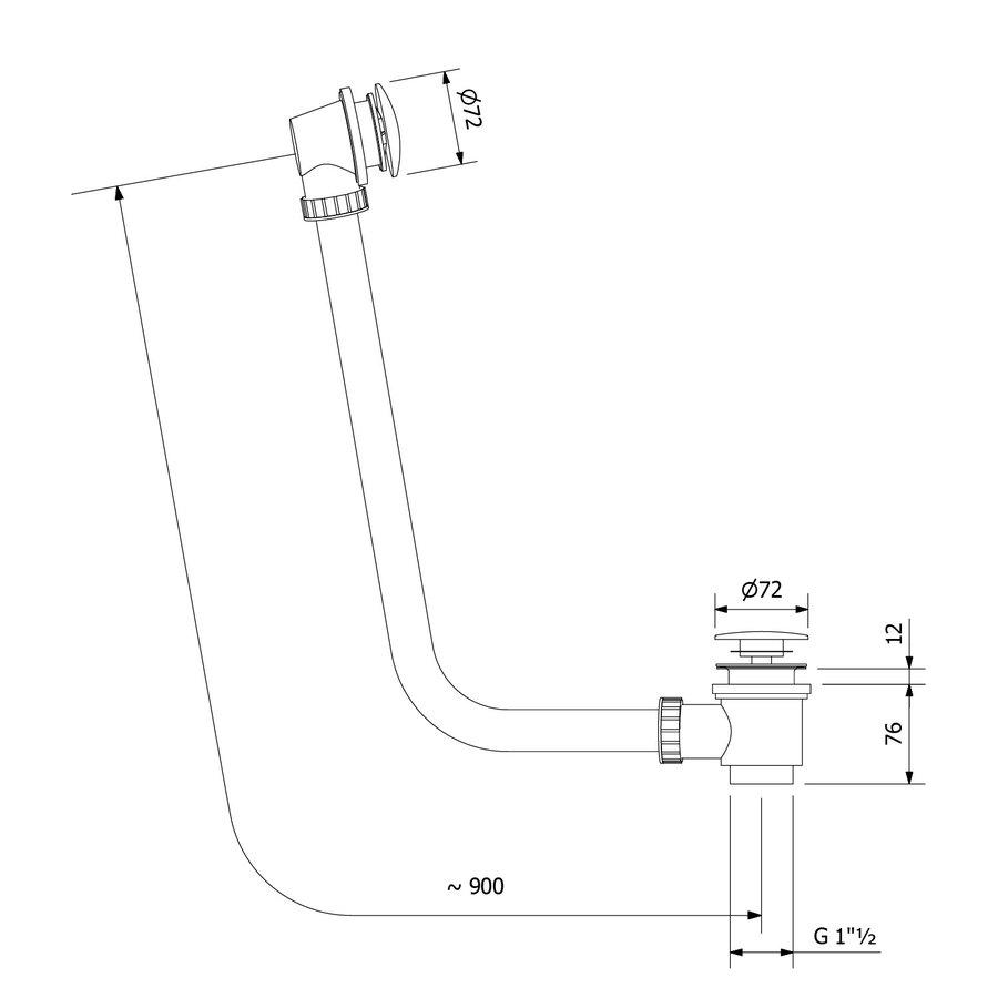 Badafvoer Sapho 90 mm Plug 72 mm Chroom