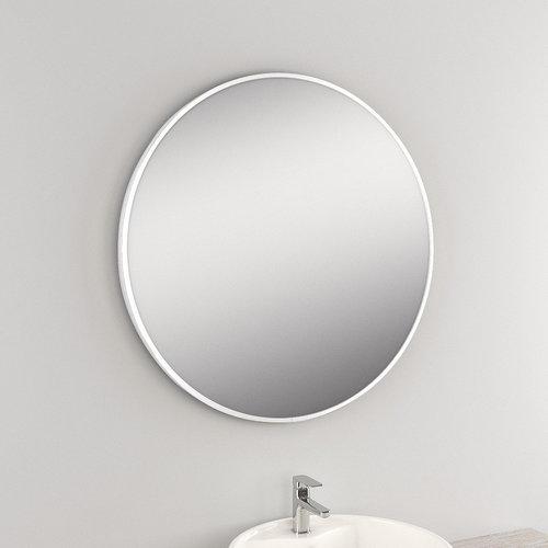 Ronde Wandspiegel Van Marcke Circolare 120x120 cm Glas En Wit Metalen Kader