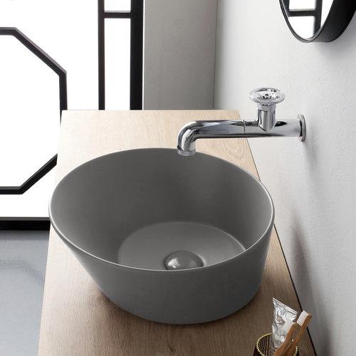 Waskom By Goof Mees Design Opbouw Wastafel Rond 42 cm Mat Grijs