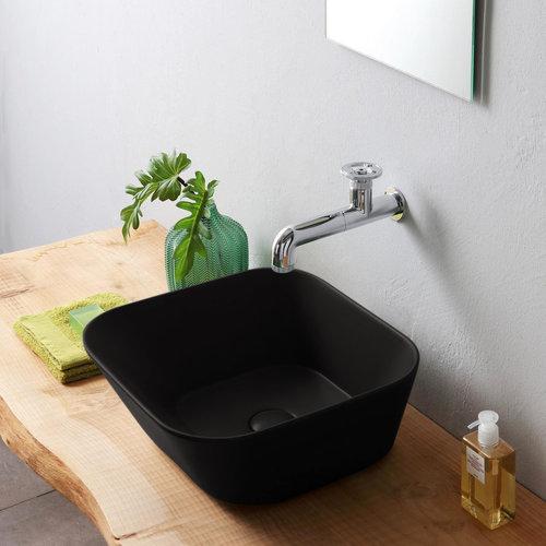 Waskom By Goof Mees Design Opbouw Wastafel Vierkant 42x42 cm Mat Zwart
