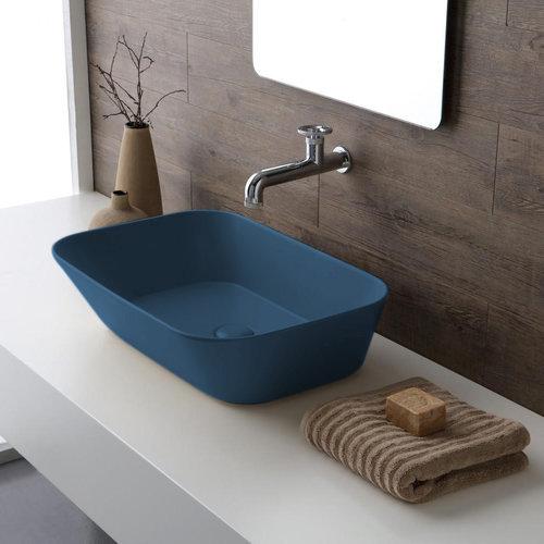 Waskom By Goof Mees Design Opbouw Wastafel Rechthoek 60x42 cm Mat Blauw