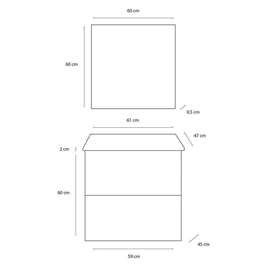 Badmeubelset Differnz Shout 59x60x45 cm Wit (Flat pack)