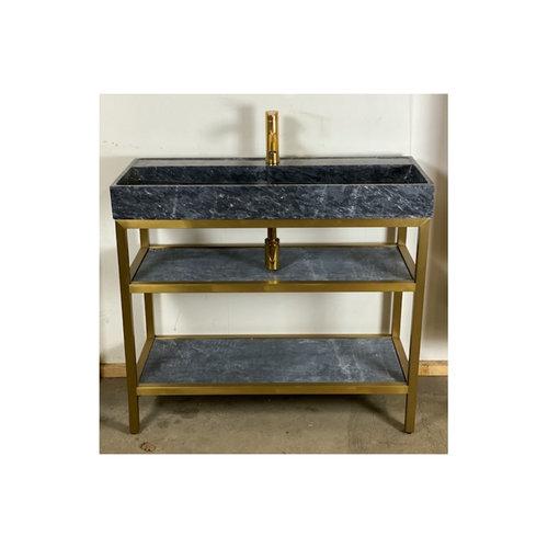 Badkamermeubel Casajoy Gold 100x41.5x79cm Met Natuurstenen Wastafel