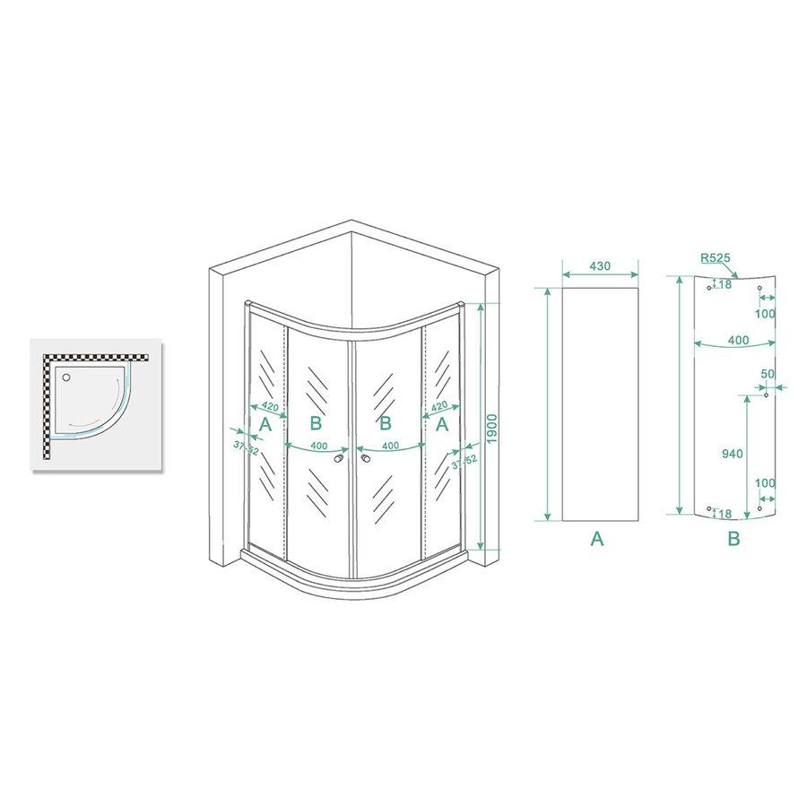 Douchecabine Wiesbaden Aktie kwartrond 100x100x190 cm 5mm Helder Glas