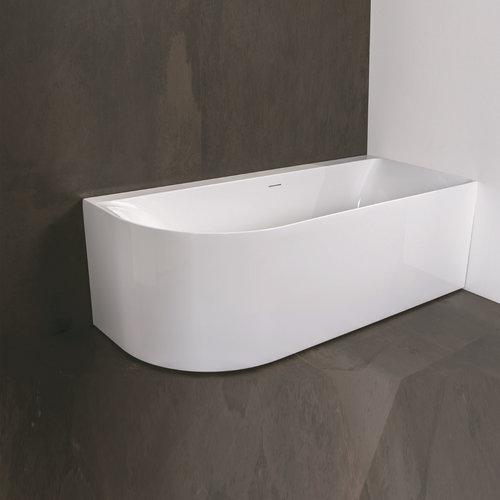 Half Vrijstaand Ligbad Luca Sanitair Primo Acryl 165x75x60 cm Rechts Glans Wit (inclusief afvoer en sifon)
