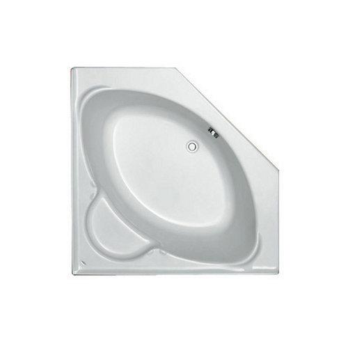 Hoekbad Plieger Contour Compact Acryl Vijfhoekig 125x125x42 cm met Poten Wit