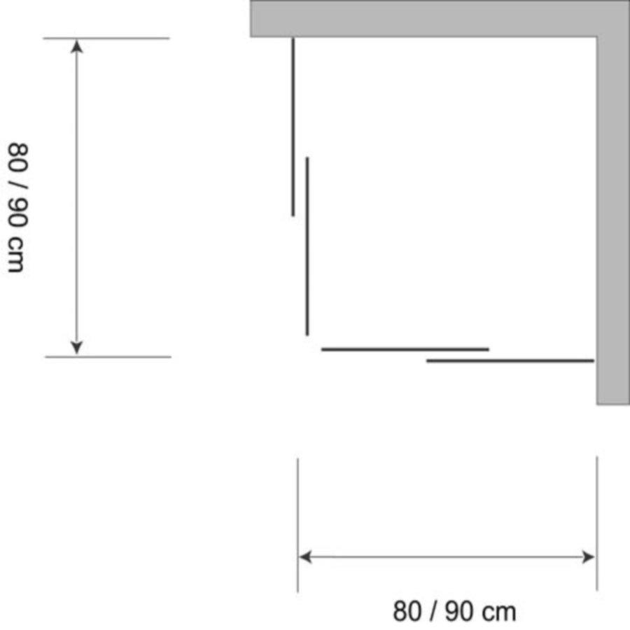 Douchecabine Hoekinstap Plieger Economy 2.2mm Acryl 90x185cm Aluminium
