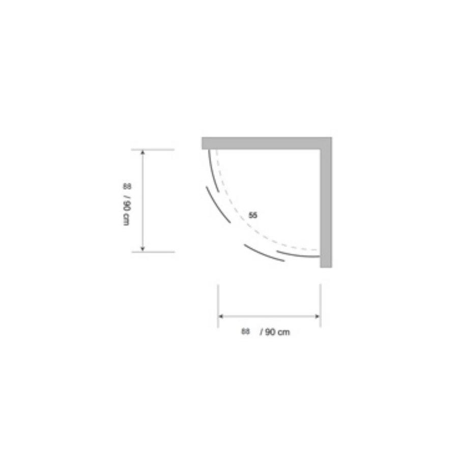 Douchecabine Plieger Economy Kwartrond 2.2mm Acryl 92x185cm Aluminium