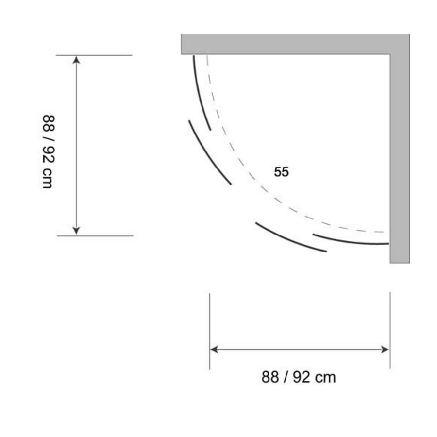 Douchecabine Plieger Class Kwartrond 92x185cm 3mm Glas Wit