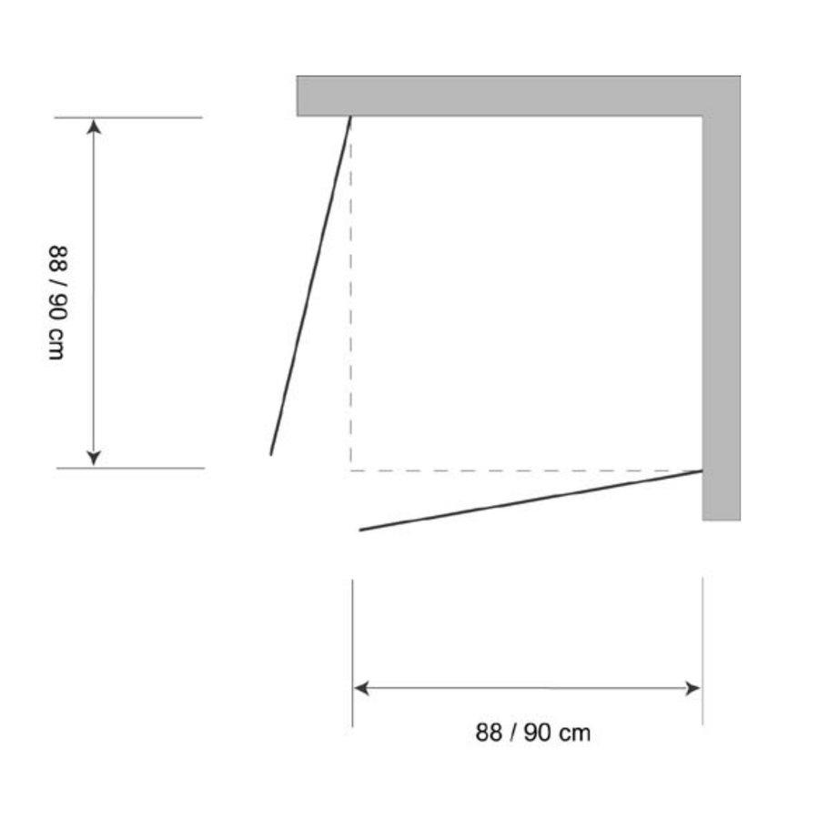 Douchecabine Hoekinstap Plieger Royal 2-delig 6mm Glas 90x185cm Chroom