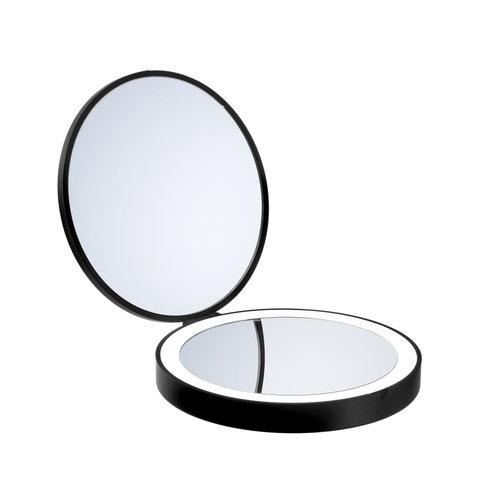 Smedbo Make Up Reis Vergrotende Spiegel Met Verlichting Diameter 12 cm ABS Zwart