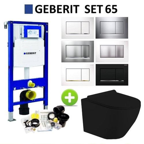 Geberit UP320 Mat Zwart Toiletset set65 Mudo Randloos met Sigma 30 Drukplaat