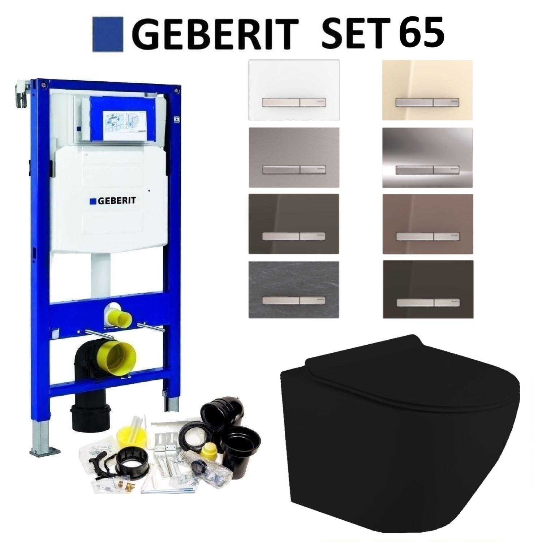 Productafbeelding van Geberit UP320 Mat Zwart Toiletset set65 Mudo Randloos met Sigma 50 Drukplaat